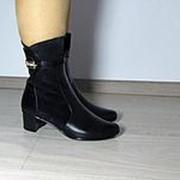 Демисезонные полусапожки на маленьком каблуке комбинированные фото