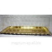 Коробка для торта (крышка и поднос) прямоугольная (30*15 см,Н 9,5 см) фото