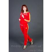 Женский велюровый спортивный костюм с неоновыми полосками