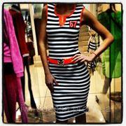 Платье полоска 57 с поясом фото