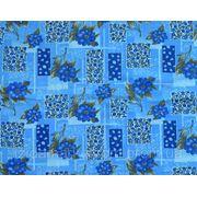 Ткань постельная Абстракция синий цветочек с квадратами