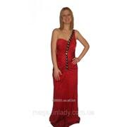 Красное вечернее платье в пол с открытой спиной 1251 фото