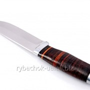 Нож охотничий, рукоять - кожа наборная фото