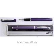 Ручка подарочная роллер метал. фиолет. твистер в подарочном футляре L1629-12 0,7мм черный фото