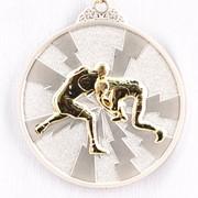 Медаль рельефная Борьба серебро фото