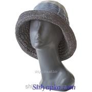 Шляпа летняя мягкая с украшением серая с голубым 38/113-1 фото