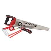Набор инструмента столярный 6ед. (ножовка, нож, карандаши, рулетка, угольник) Intertool HT-3157 фото