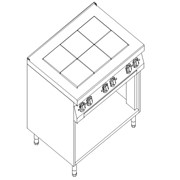 Плита электрическая 6-ти конфорочная Kogast с открытой базой ES-T69/P фото