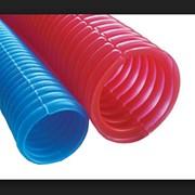 Трубка защитная гофрированная, диаметр 23/28 мм синяя фото