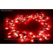 Гирлянда, длина 4,5м, с черными нитями, 100 лампочек красного цвета, с контроллером 8р фото
