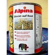 Alpina DIREKT AUF ROST (золото). Эмаль для защиты стали и железа. фото