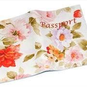 Кожаная женская обложка для паспорта с цветами -Весенняя- фото
