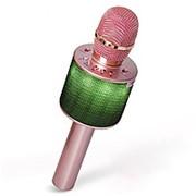 Беспроводной караоке микрофон D03 с колонкой и LED подсветкой (розовый) фото