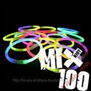 Светящиеся неоновые браслеты (палочки) 100 штук фото