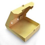 Коробка для пиццы 330х330х40 мм микрогофрокартон бурый фото
