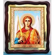 Икона большая аналойная с багетом, в фигурном киоте, Арх Михаил пояс, 28х32 фото
