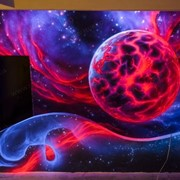 Краски светящиеся флуоресцентные для стен, светящаяся в ультрафиолетовом излучении. фото