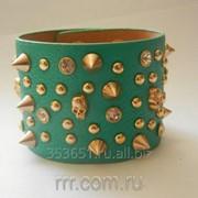 Модные аксессуары широкий кожаный браслет с шипами 364 фото