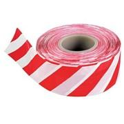 Лента оградительная, сигнальная, 200м (красно-белая) фото