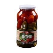 Ассорти №6 маринованные помидоры и огурцы, стеклобанка 720 мл. фото