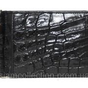 Зажим для купюр из кожи крокодила ALNT 59B Black фото