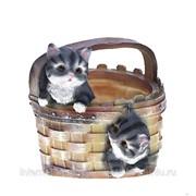 Кашпо декоративное Котята в корзине, H20 D16 см фото
