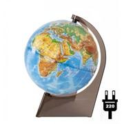 Глобус физический рельефный, 21 см, с подсветкой, на треуг. подставке, (Глобусный мир) фото