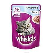 Whiskas 85г пауч Влажный корм для взрослых кошек от 1 года Форель (рагу) фото