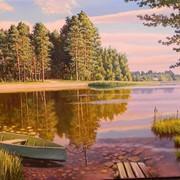 Картина живописная Лодочка у берега фото