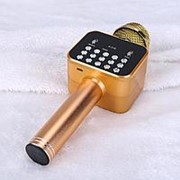 Беспроводной Bluetooth караоке микрофон K-316 со встроенной колонкой (золото) фото