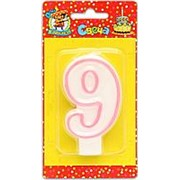 """Свеча для торта """"Цифра 9. Розовая окантовка"""" Миленд, картон. уп., европодвес, С-1193 фото"""