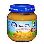 Пюре Gerber 130г яблоко, абрикос, банан с 4мес фото