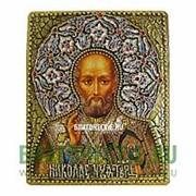 Old Modern Николай Чудотворец, святитель, икона с эмалью, копия писанной иконы под старину, ручная работа Высота иконы 23 см фото