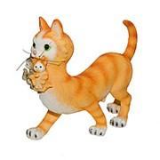 Фигура Кошка с котятами рыжая 19009 фото
