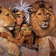 Картина по номерам Красавица со львами фото