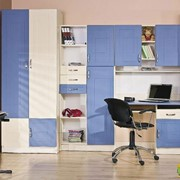 Детская комната Юниор МДФ Синий с Крем фото