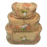 Шкатулка-мини цветочная овальная. Из бамбука, в инд. Упак. (18*13*Н6), комп.-3 (уп.120) 8616 46120-S3 фото