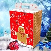 Новогодняя упаковка для сладких подарков (картон) Имбирный человек фото