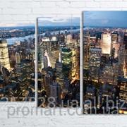 Модульна картина на полотні Нью-Йорк. Вечір код КМ80106-074 фото
