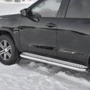Пороги Toyota Fortuner 2015-наст.время (лист алюм. труба сталь 63 мм) фото