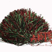 "Помпон ""Контраст металик"", зелено-красный фото"