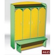 Шкаф в детсад купить, Шкаф 4-дверный для раздевалки с лавкой 1240х350х1560 мм, Код: 4625