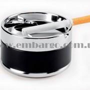 Пепельница круглая, диаметр 8 см, хром/черн фото