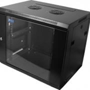 """Шкаф 19"""" настенный Pleolan 12U (635x600x450), дверь стекло, черный фото"""