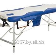 Складной 2-х секционный алюминиевый массажный стол BodyFit, бело-синий фото