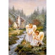 Картина стразами Два ангелочка у ручья 40х60 см фото