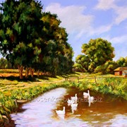 Деревенский пейзаж, картина маслом на холсте. фото
