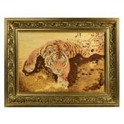 Картина из янтаря Тигр фото