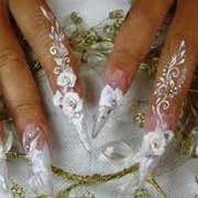Наращивание ногтей, аквариумный эффект фото