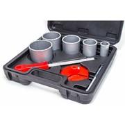 Набор корончатых сверл для плитки 5ед. 33-83мм, вольфрамовое напыление + напильник и чемодан Interto фото